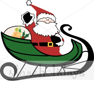 300x276 Santa Delivers Presents Santa's Sleigh Clipart