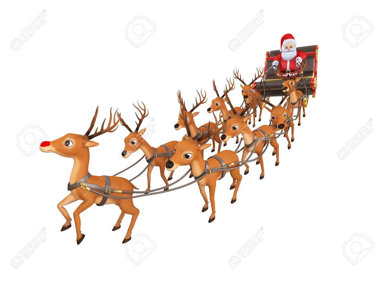 1300x975 3d Rendered Illustration Of Santa With His Sleigh Stock Photo