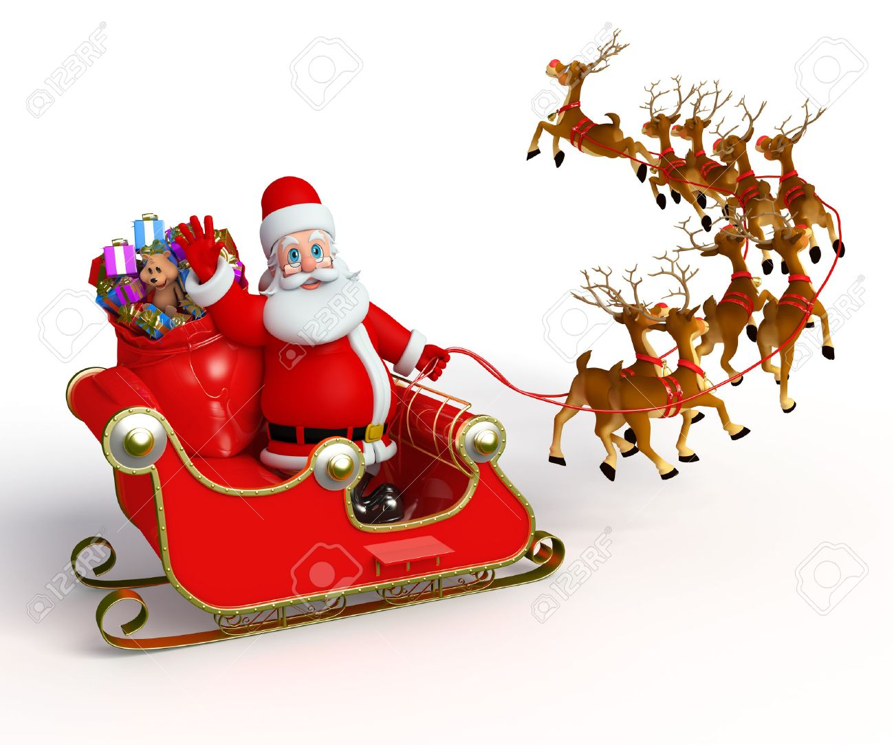 1300x1083 Santa With His Sleigh Stock Photo, Picture And Royalty Free Image
