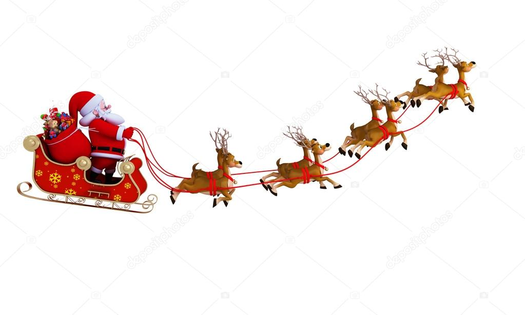 1023x614 Santa Claus With His Sleigh Stock Photo Pixdesign123