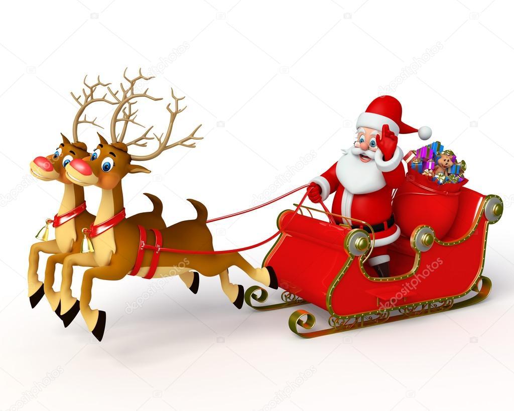 1024x819 Santa Claus With His Sleigh Stock Photo Pixdesign123