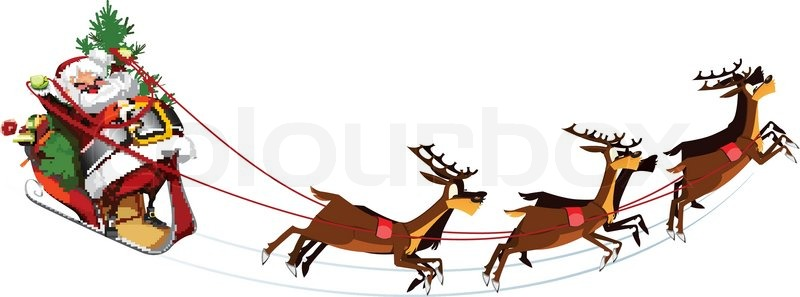 800x297 White Background With Santa Claus Flying His Sleigh Stock Vector