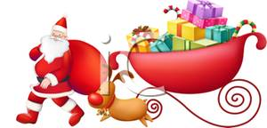 300x144 And Santa With His Sleigh Clip Art Image