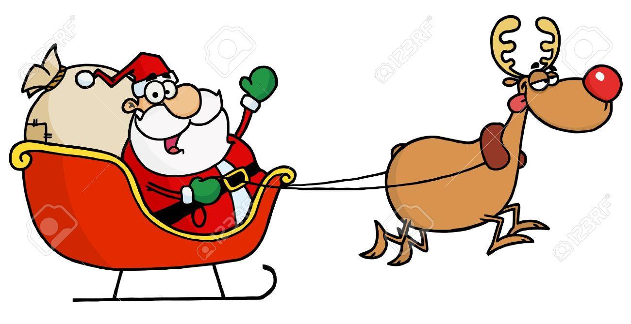 1300x669 Santa On His Sleigh Clipart