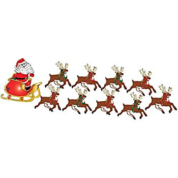 350x350 Santa Claus Wall Decals In His Sleigh With 8 Reindeer