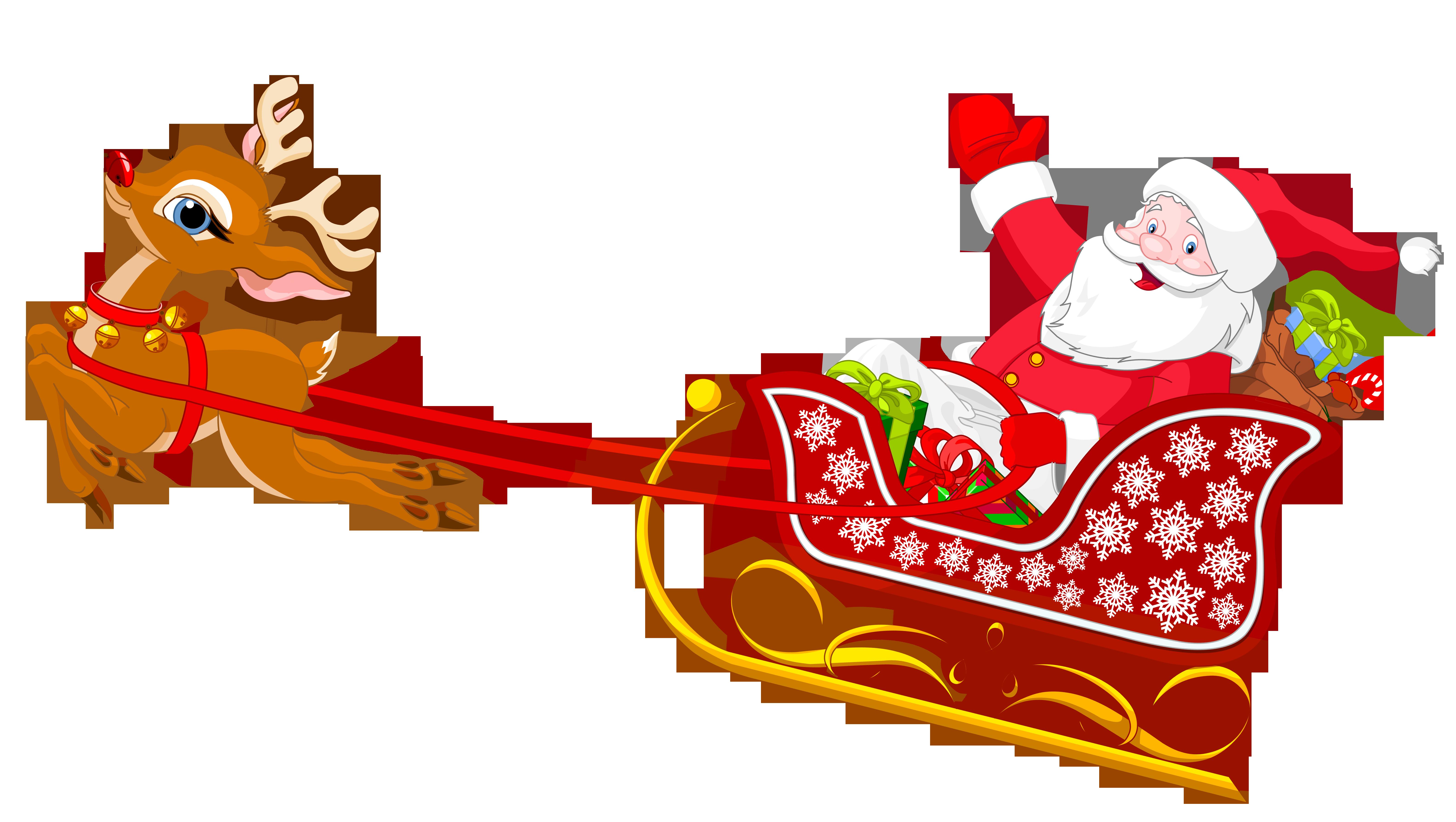 6337x3579 Clipart Santa Sleigh And Reindeer