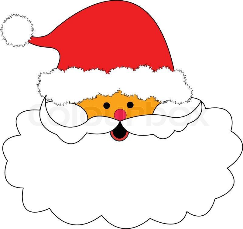 800x755 Christmas Santa Claus Red Hat And Nose, White Beard Illustration
