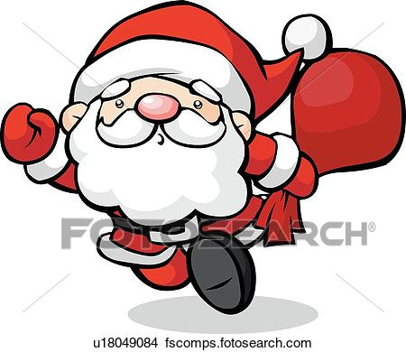 450x390 Drawings Of Santa Running With A Sack Of Gifts U18049084