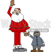 170x170 Clipart Of A Cartoon Christmas Santa Claus Cheering And Holding Up