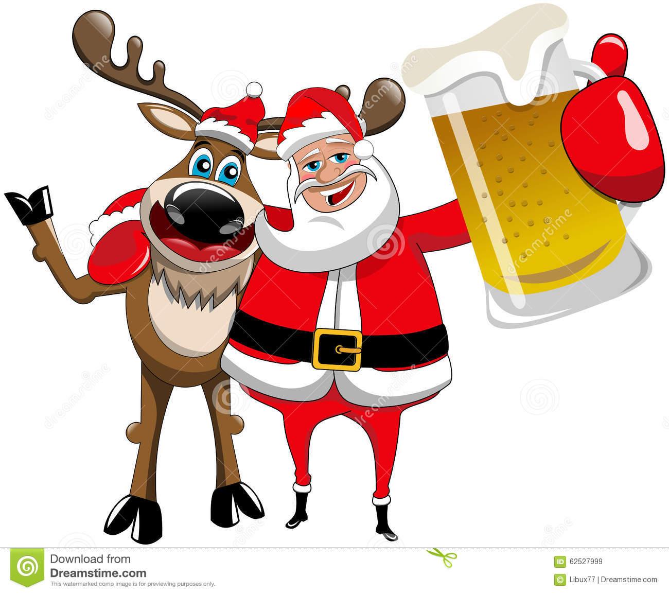 1300x1154 Reindeer Christmas Santa Claus Hug Beer Mug Stock Vector