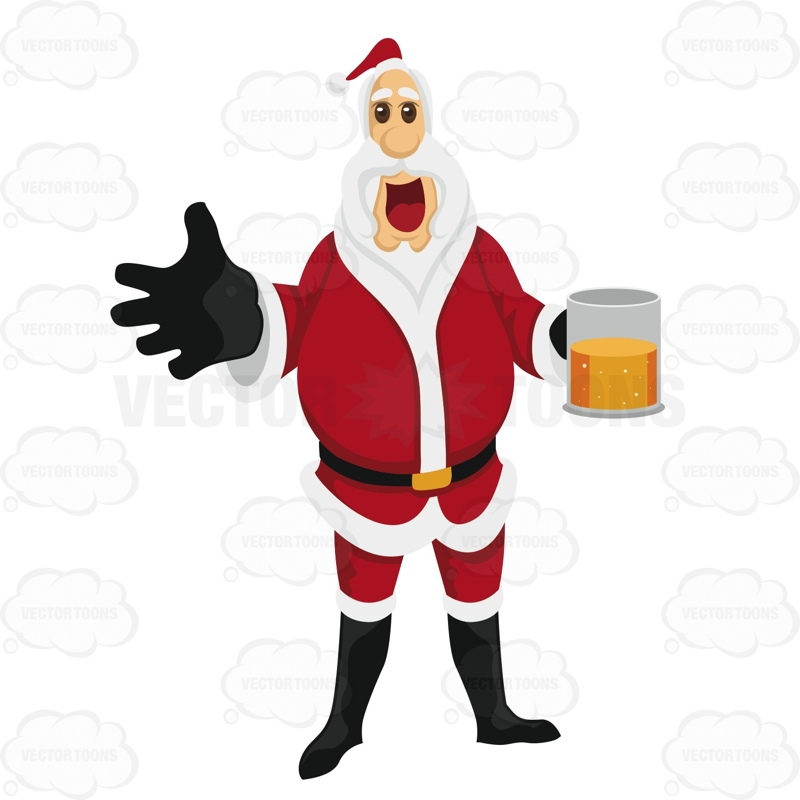 800x800 Santa Claus Holding A Mug Of Beer Cartoon Clipart