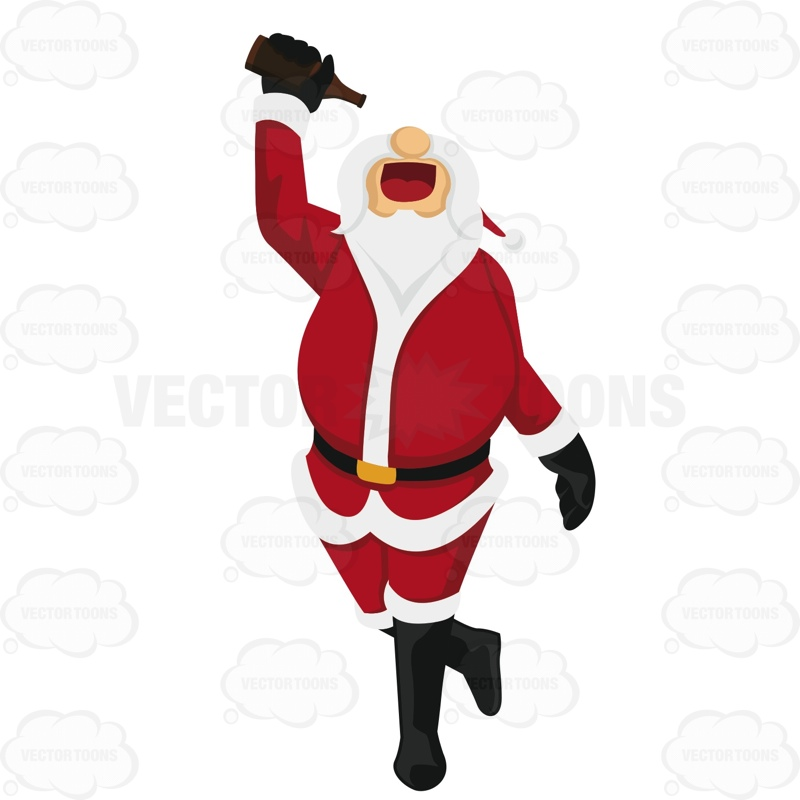 800x800 Santa Claus Is Walking While Holding A Bottle Of Beer Above His