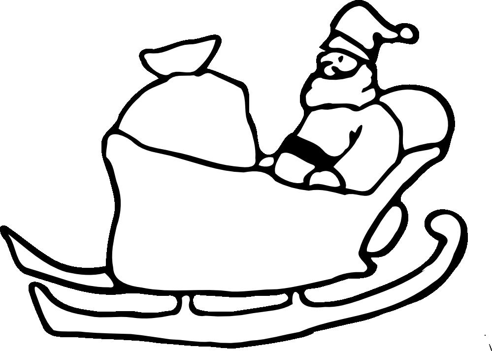 999x713 Santa Black And White Clipart