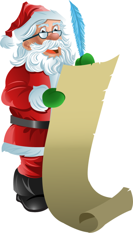448x782 Santa Checking His List Clipart