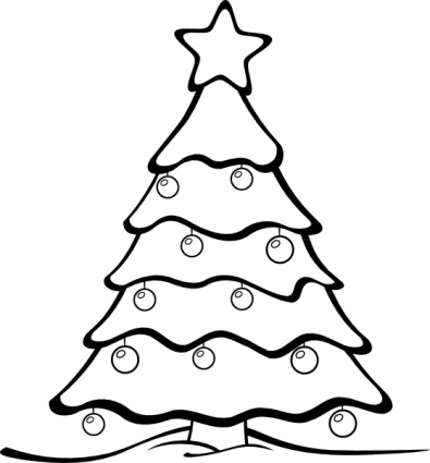 395x425 Christmas Tree Black And White Clipart