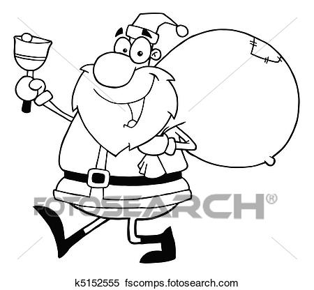 450x416 Clipart Of Outline Santa Waving A Bell K5152555