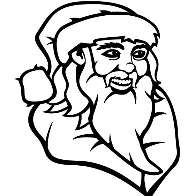 626x626 Santa Claus Drawing In Black And White Vector Free Download