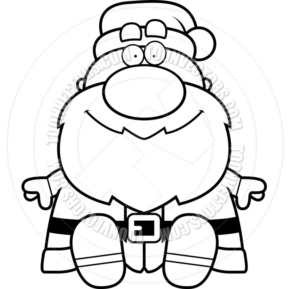 940x940 Cartoon Santa Claus Sitting (Black And White Line Art) By Cory