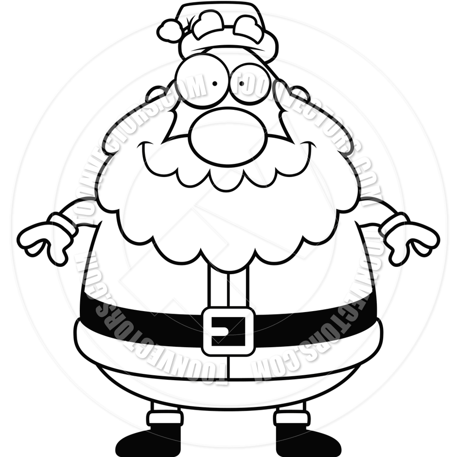 940x940 Cartoon Santa Claus Smiling (Black And White Line Art) By Cory