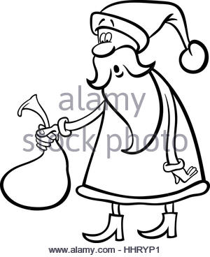 300x368 Black And White Drawing Of Santa Holding A Christmas Sign Stock