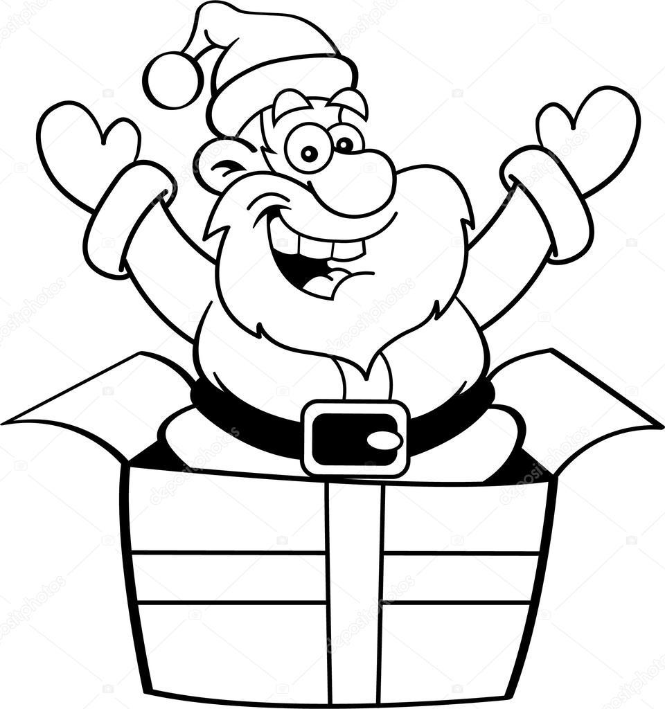 960x1024 Cartoon Santa Claus Jumping Out Of A Gift Box. Stock Vector