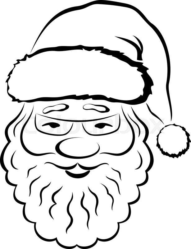 615x800 Christmas Symbol, Smiling Santa Claus Face, Black Pictogram