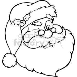 300x300 Royalty Free Santa Claus Winking Outline 381417 Vector Clip Art