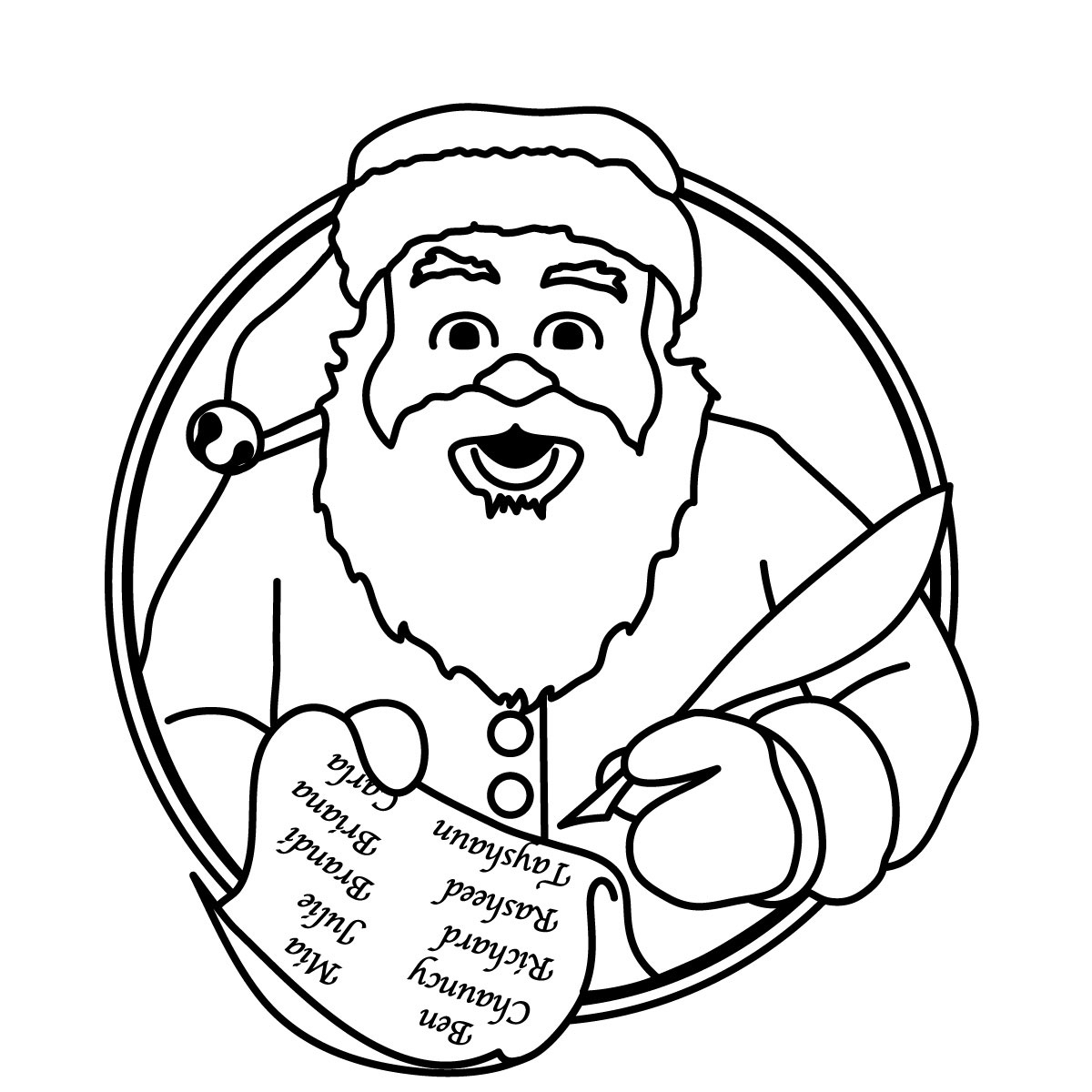 1200x1200 Santa Claus Face Clipart Black And White