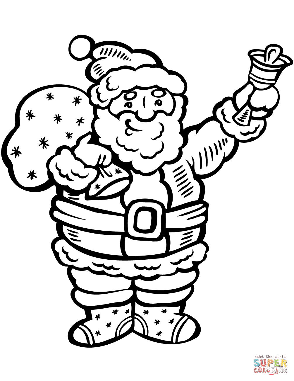 1005x1300 Santa Claus Ringing The Bell Coloring Page Free Printable