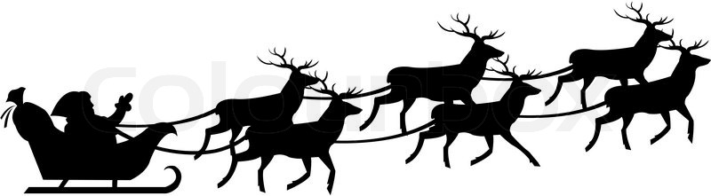 800x221 Silhouette Of Santa Claus On Sledge With Deer, Isolated On White