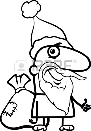 314x450 Black And White Cartoon Illustration Of Santa Claus Group