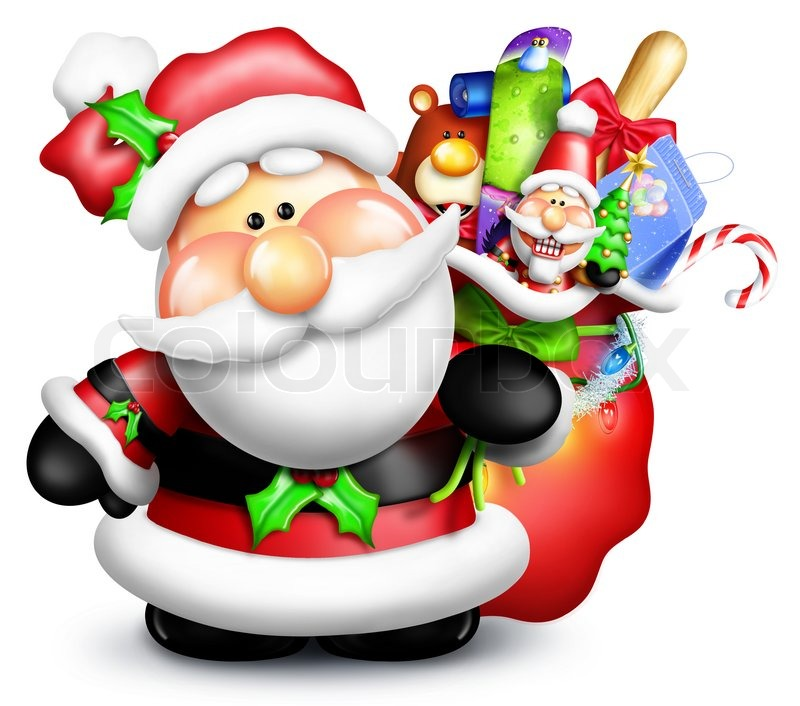 800x706 Cartoon Santa Claus With Gift Bag Stock Photo Colourbox
