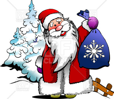 400x348 Cartoon Santa Claus With Bag With Gifts Royalty Free Vector Clip
