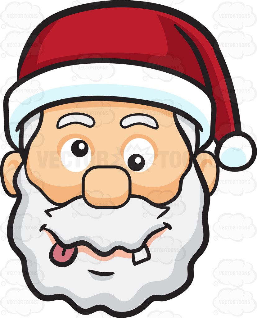 828x1024 A Crazy Face Of Santa Claus Cartoon Clipart