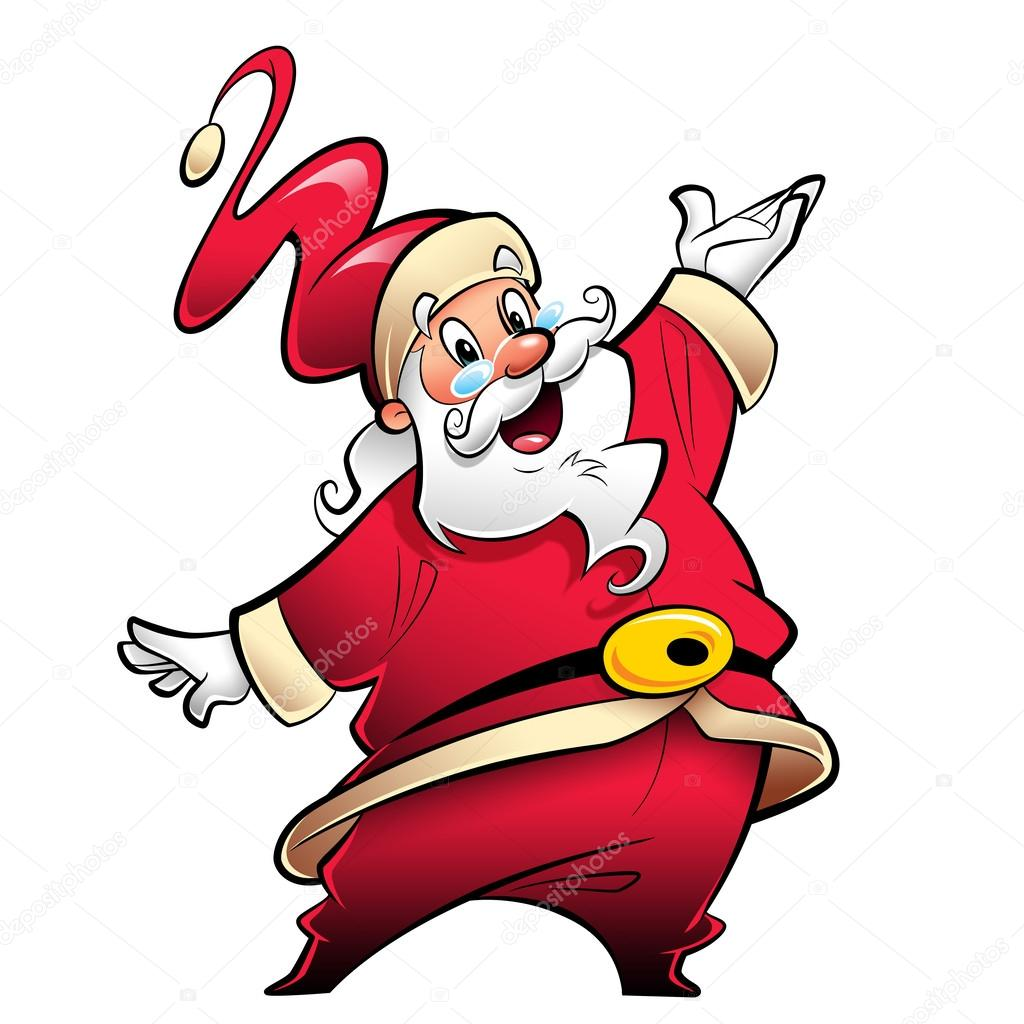 1024x1024 Happy Smiling Santa Claus Cartoon Character Presenting And Wishi