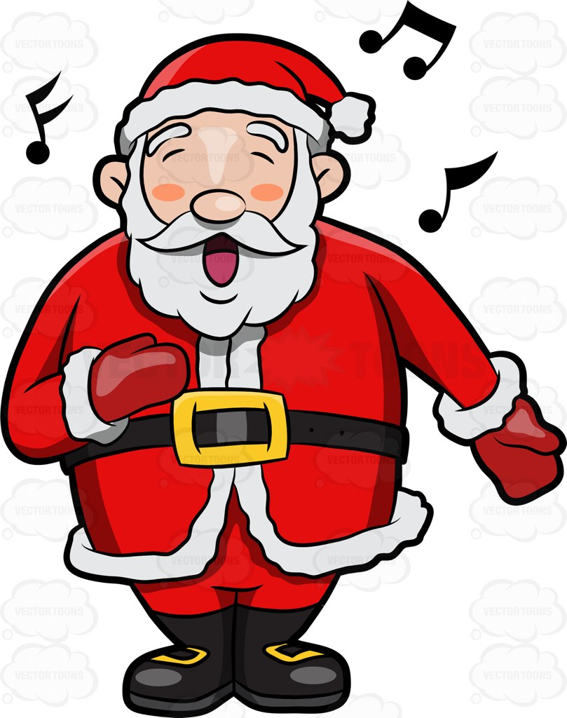 809x1024 A Jolly Santa Claus Singing In Delight Cartoon Clipart
