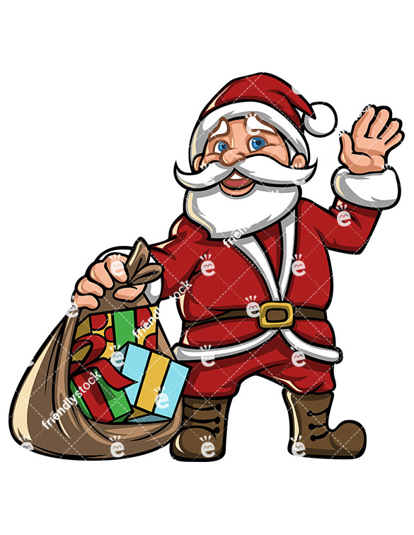 585x755 Santa Claus Cartoon Character With Open Gift Sack