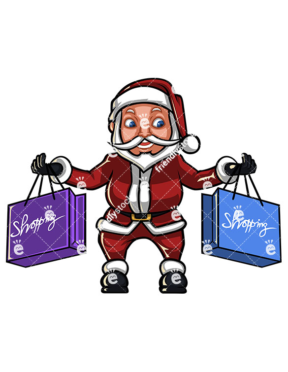 585x755 Santa Claus Holding Christmas Shopping Bags Cartoon Vector Clipart