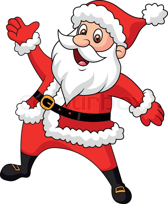 662x800 Vector Illustration Of Santa Clause Cartoon Waving Hand Stock