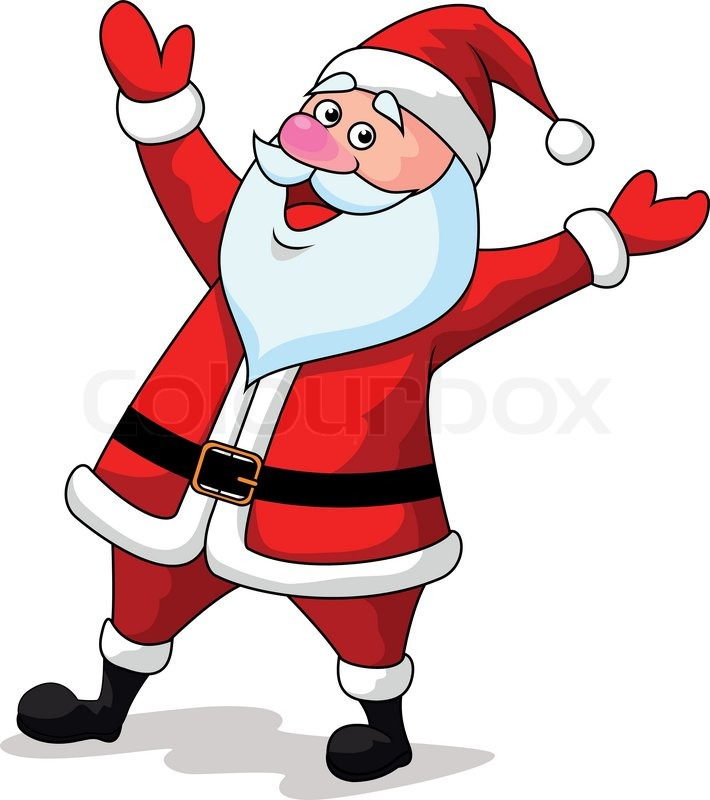 710x800 Vector Illustration Of Santa Clause Cartoon Waving Hands Stock