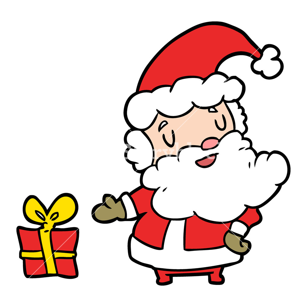 1000x1000 Cartoon Santa Claus With Present Royalty Free Stock Image