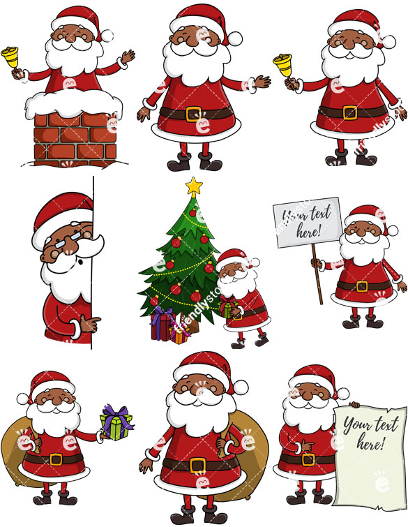 585x755 Black Santa Claus Cartoon Vector Clipart Collection