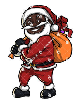 277x357 Black Santa Claus Holding A Huge Gift Box Cartoon Vector Clipart