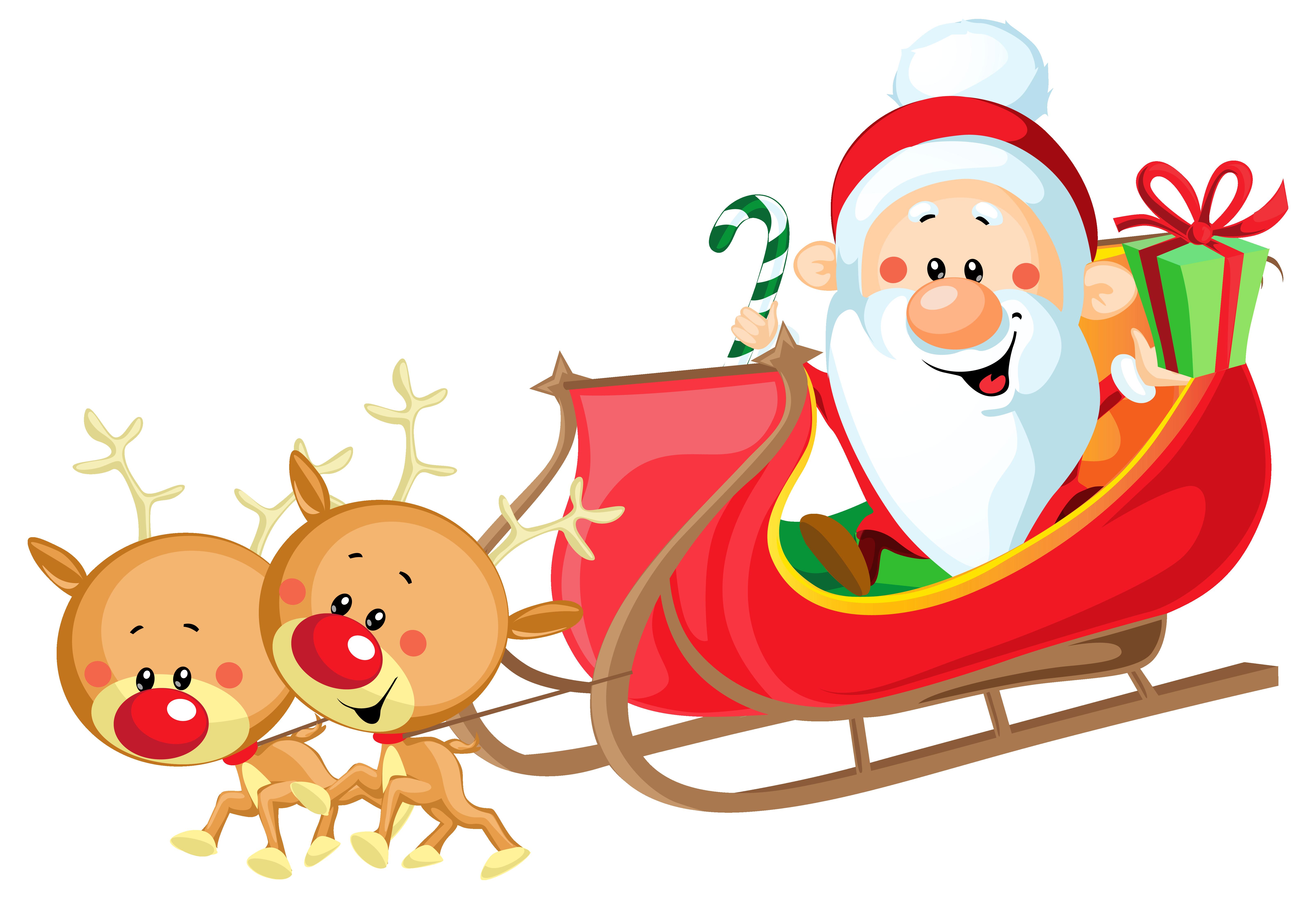 6412x4378 Santa Claus In Sleigh Clipart