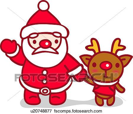 450x386 Clip Art Of Reindeer, Santa Clause, X Mas, Christmas, Animal, Red