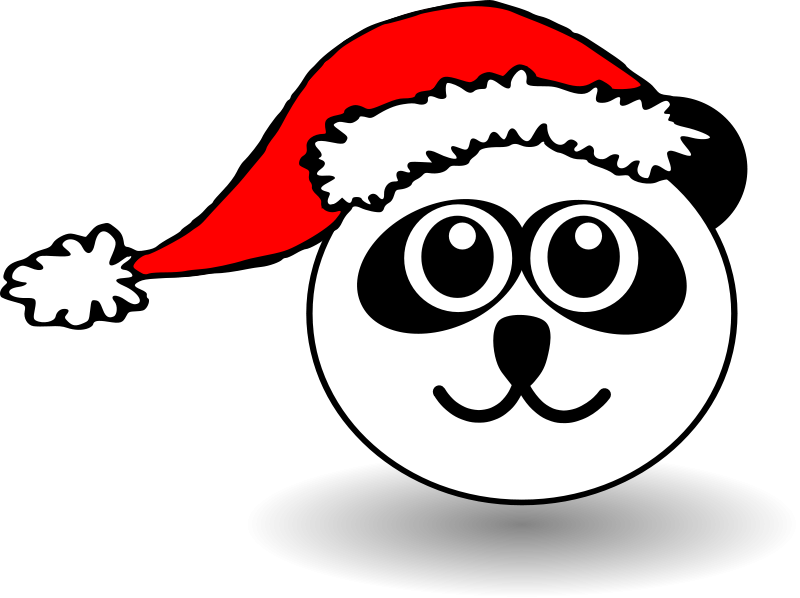 800x598 Funny Panda Face Black And White With Santa Claus Hat Free Vector