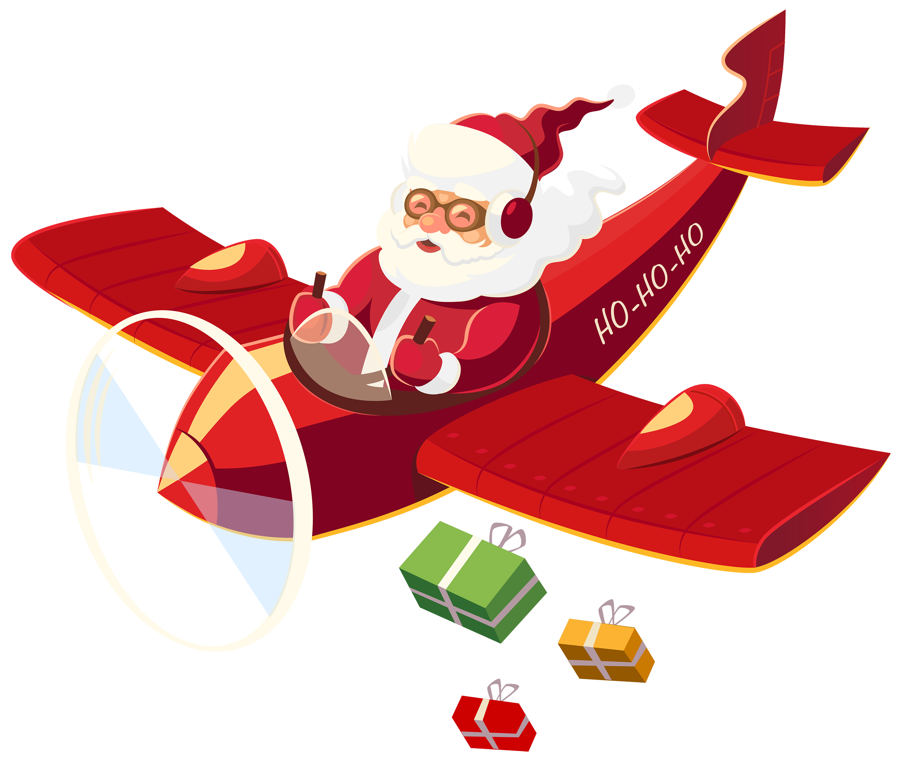 3000x2529 Santa Claus With Plane Png Clipart