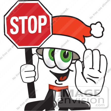 450x450 Clip Art Graphic Of A Santa Claus Cartoon Character Holding A Stop