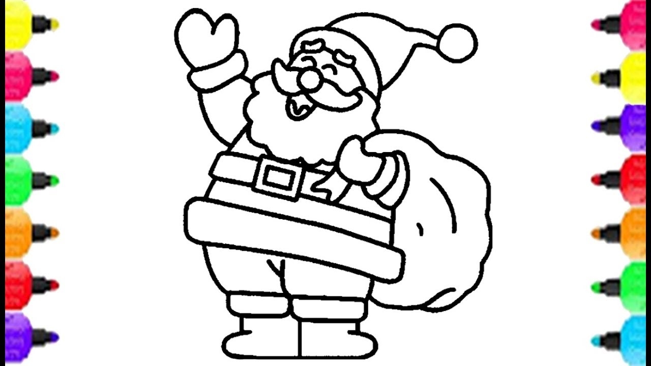 1280x720 Santa Claus Coloring Pages How To Draw Santa Claus Merry Christmas