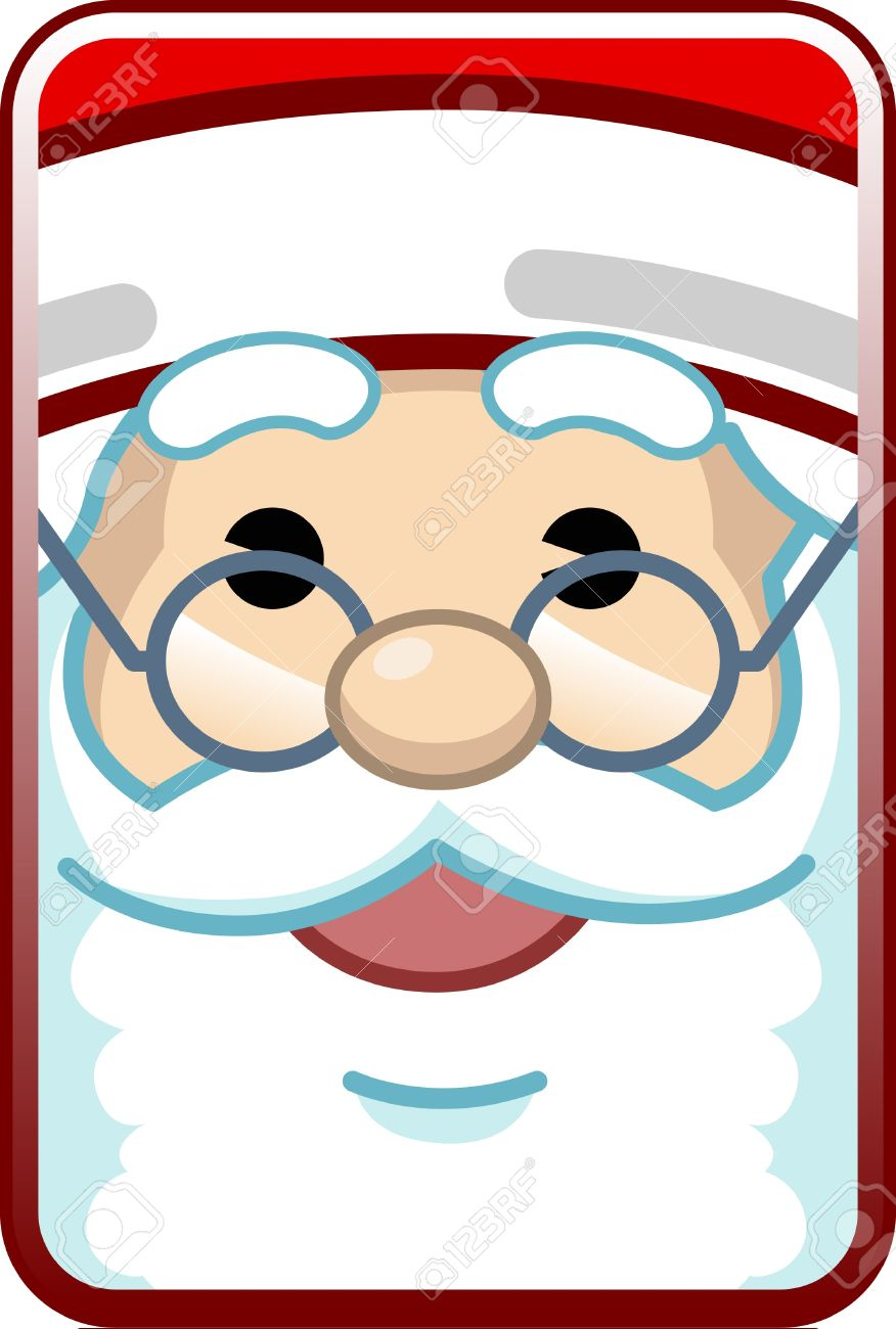 876x1300 Cute Cartoon Close Up Face Of Santa Claus Royalty Free Cliparts